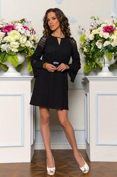 Черное платье из 100% хлопка с ажурными рукавами Angela Ricci