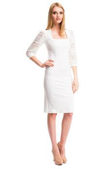 Белое платье с ажурными рукавами Mondigo